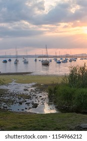 Sailing boats on Untersee, sunset, Allensbach, Lake Constance, Baden-Württemberg, Germany