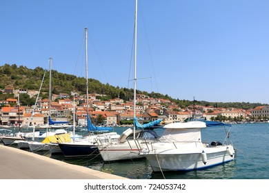 Sailing boats in Vela Luka. Vela Luka is a picturesque coastal town on Korcula Island, in Croatia.