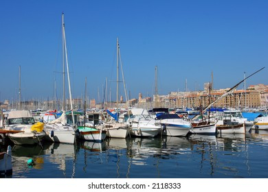 Sailing boats in the Vieux Port of Marseille, France