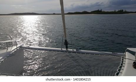 Sailing Catamaran at North Cat Caye Island Bimini, Bahamas