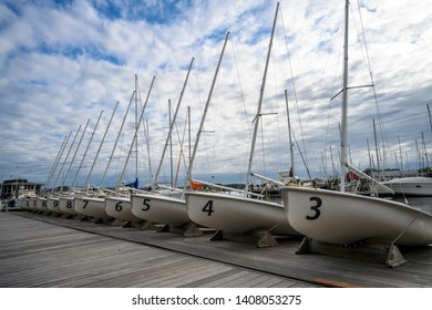 Sailing dingies lined up at the Annapolis Sailing School in Annapolis, Maryland - May 24, 2019