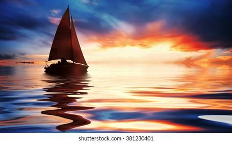 Sailing at fantastic sunset