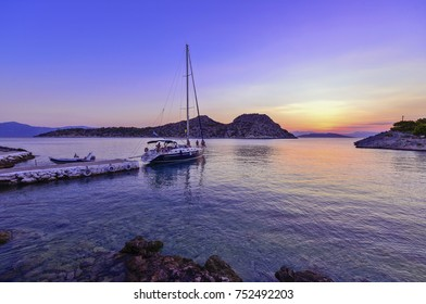 Sailing in Greece,  magnificent sunset in the Aegean sea