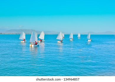 Sailing in Greece,Sail training of young children in Greek island