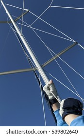 Sailing. Hands of an athlete with a rope.