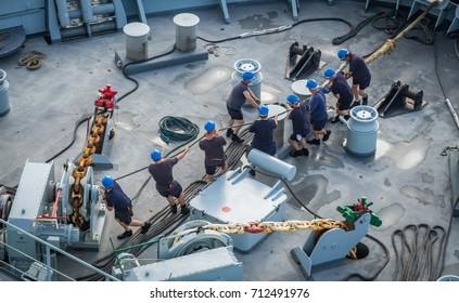 Sailing into Carcaasbaai a largedocking area on the Caribbean island of Curacao