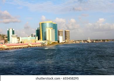 Sailing into Port of Spain, Trinidad