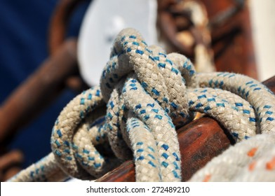 Sailing Knots Close Up Shot with White Rope