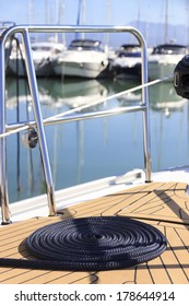 Sailing line on a deck of a yacht