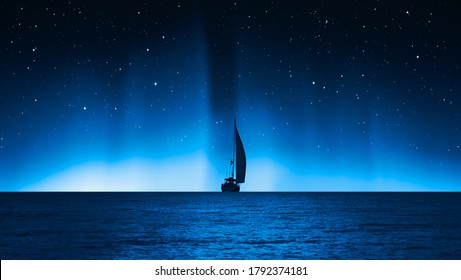 """Sailing luxury yacht along the route over dark sea - Northern lights aurora borealis """"Elements of this image furnished by NASA"""""""