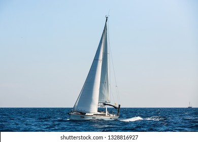 Sailing luxury yachts at Aegean Sea - Greece. Cruise yachting.