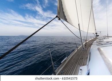 sailing in the Mediterranean sea on sailboat