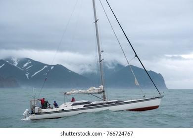 Sailing near Kamchatka Peninsula