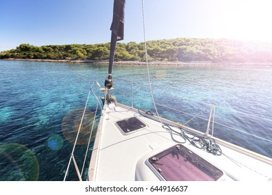 Sailing on Adriatic sea in Croatia islands