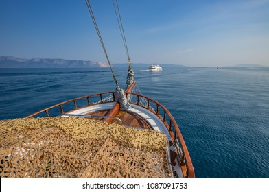 Sailing on a cruise ship to the Island of Skiathos, Greece