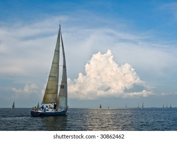 Sailing on Galveston Bay, Texas.