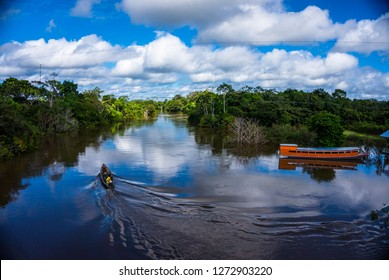 Sailing on the river in the Amazon, iquitos, Peru.