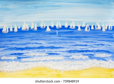 Sailing regatta with white yachts - illustration painting watercolor.