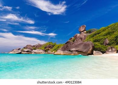Sailing Rock, clear sea and blue sky on the island of Koh Similan, the group Similan Islands, Andaman sea, Thailand.