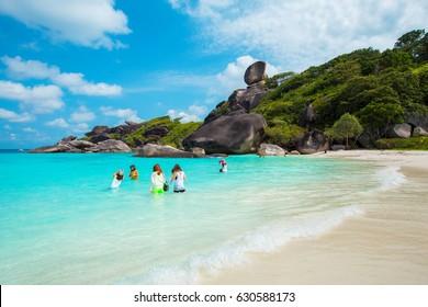 Sailing Rock (Donald Duck Rock) and beautiful tropical sea of Similan island, Phang-nga, Thailand