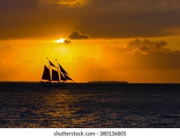 Sailing Schooner at Sunset, Key West, Florida