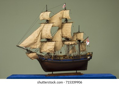 Sailing ship of the ?VI century galleon, model of the ship.