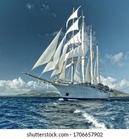 Sailing ship cruise. Travel under sail. Yachting. Tourism
