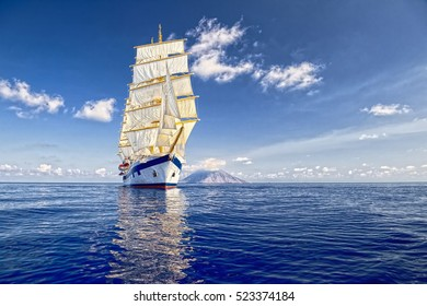 Sailing ship. Luxury holidays cruises. Yachting and Sailing