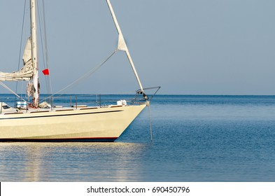 Sailing ship luxury yacht detail in the Sea