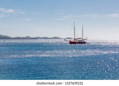 Sailing ship off the coast of St George's, Grenada, Windward Islands, West Indies, Caribbean, Central America 2 February 2019