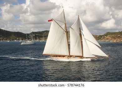 Sailing Ship off the Coast of St. Barts