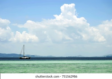 Sailing ship on the Andaman Sea off Koh Kradan