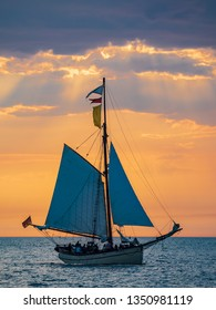 Sailing ship on the Baltic Sea in Warnemuende, Germany.