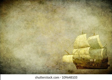 The sailing ship on the old brown paper