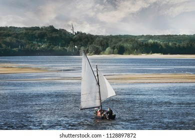 Sailing ship on the river Loire in France