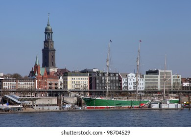 a sailing ship in the port of Hamburg, Germany
