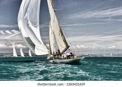 Sailing ship race. Classic yacht under full sail at the regatta