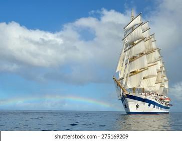Sailing ship and rainbow