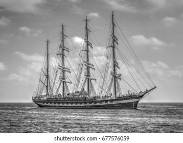 Sailing ship in the sea in black and white