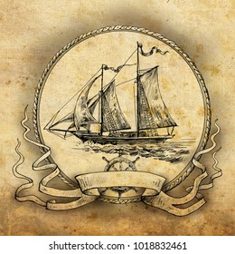Sailing ship. Vignette with an old sailboat,  drawn by hand. Suitable for logo, advertising, design in pirate and