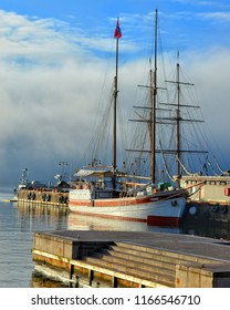 Sailing ship with water and blue sky in background. Seascape. Sweet memories. Travel and vacation. Marine style. Stunning view. North nature. Amazing places. Norway, Oslo – November 4, 2017