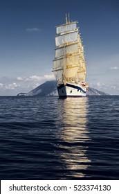 Sailing ship. Yachting and Sailing.  Luxury holidays cruises
