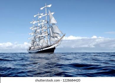 Sailing ship. Yachting sport
