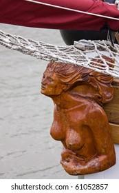 Sailing ship's carved figurehead