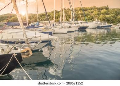 sailing ships in harbor - Sivota Greece