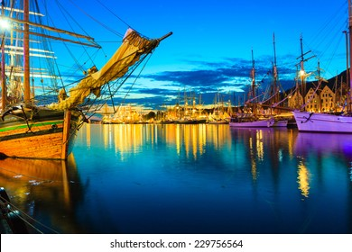 Sailing ships in the harbour during the tall ships races Bergen, Norway. Night view