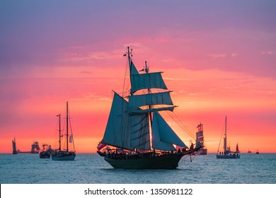 Sailing ships on the Baltic Sea in Warnemuende, Germany.