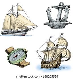 sailing ships and paraphernalia