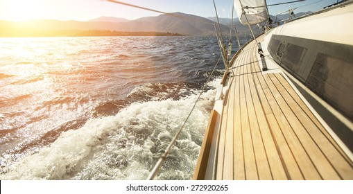 Sailing ships yachts in the open sea. Sailing yacht race.