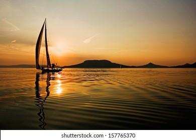 Sailing and sunset, sunrise